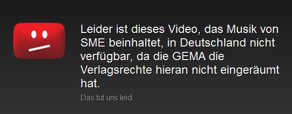 Die Sperre, die YouTube aufgrund des Rechtsstreits mit der GEMA eingeführt hat