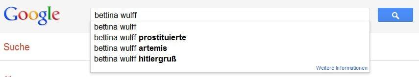 Bettina Wulff Mobbing per Google-Suche