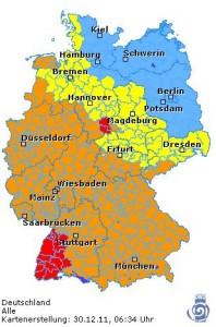 Die Warnlage laut Deutschem Wetterdienst - Screenshot von der Webseite