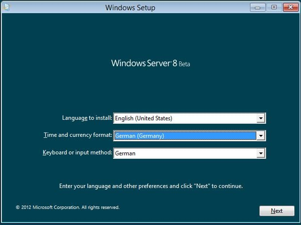 Windows Server 8 - Sprache und Region auswählen