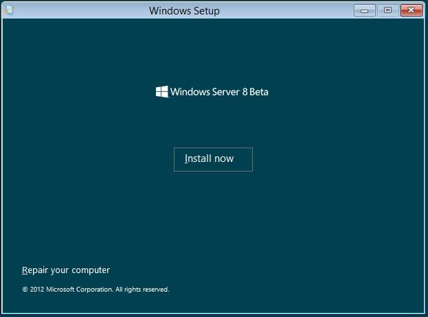 Windows Server 8 - Installation starten