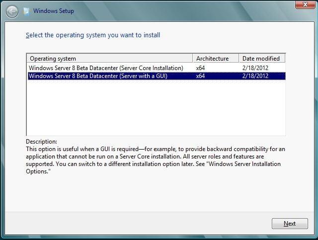 Windows Server 8 - Betriebssystemart auswählen
