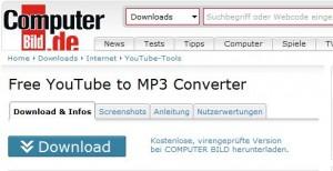 Computerbild - Free YouTube to MP3 Converter - Screenshot von der Webseite - Link im nebenstehenden Text