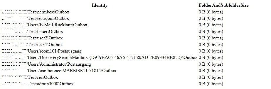 Die Ausgabe des Befehls sieht dann so aus; in einer Testumgebung ist natürlich das Datenvolumen sehr gering
