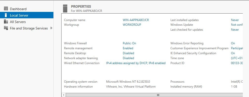Windows 8 Server Manager - Local Server - Eigenschaften