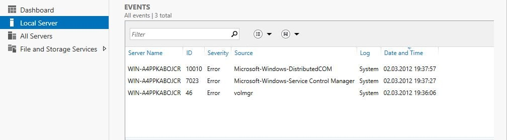Windows 8 Server Manager - Local Server - Ereignisse