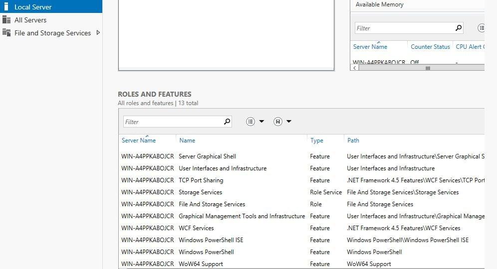 Windows Server 8 - Local Server - Rollen und Features