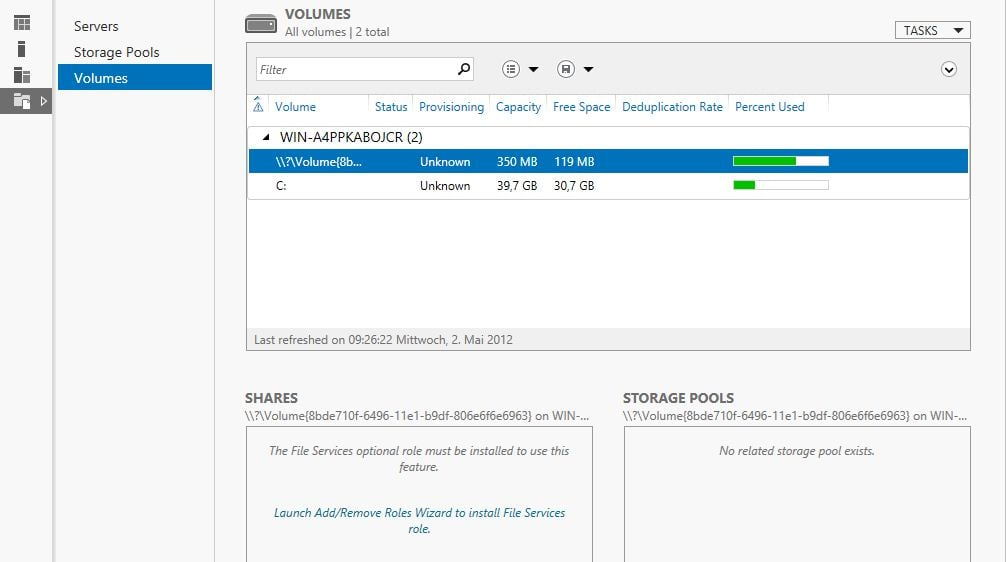 Windows Server 8 - File and Storage Services - Volumes