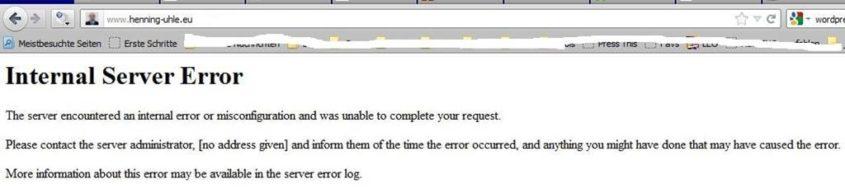 Der Versuch, im Dashboard zu einem beliebigen Unterpunkt zu gelangen, führte zu einem HTTP-Fehlercode 500 - (C) Henning Uhle