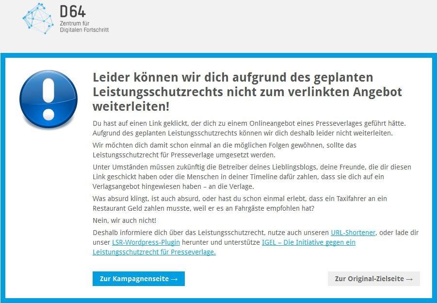 Hinweis des WordPress-Plugins D64 LSR Stop
