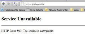 Textguard - Dienst nicht verfügbar - Screenshot