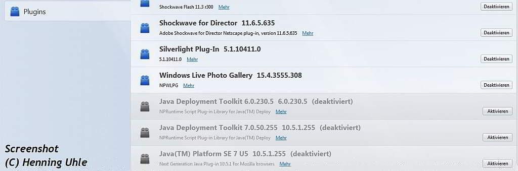 Deaktiviertes Java im Firefox - Screenshot (C) Henning Uhle