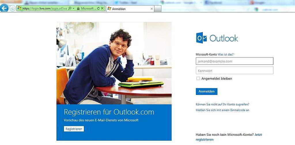 Die Outlook.com-Willkommensseite im Internet Explorer - Screenshot