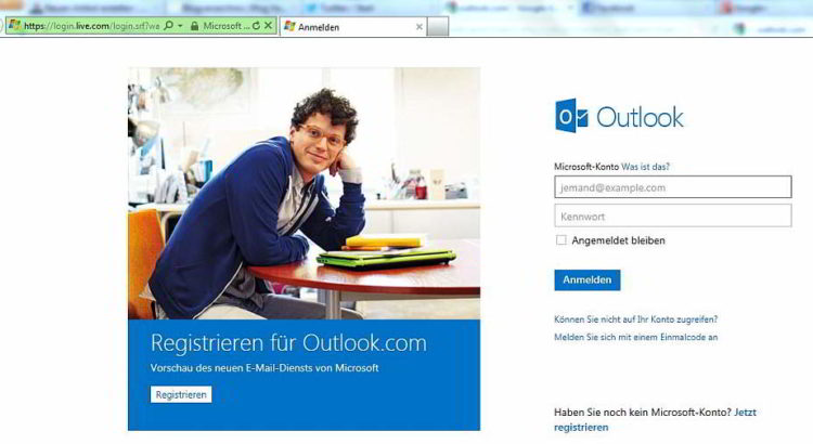 Die Outlook.com-Willkommensseite im Internet Explorer - Screenshot