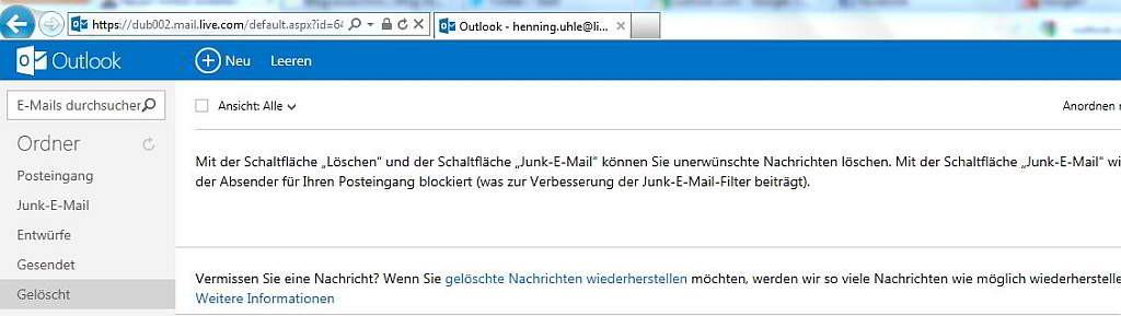 Outlook.com - Nach wie vor sind die Ordner vorhanden - links sieht alles bekannt aus - Screenshot