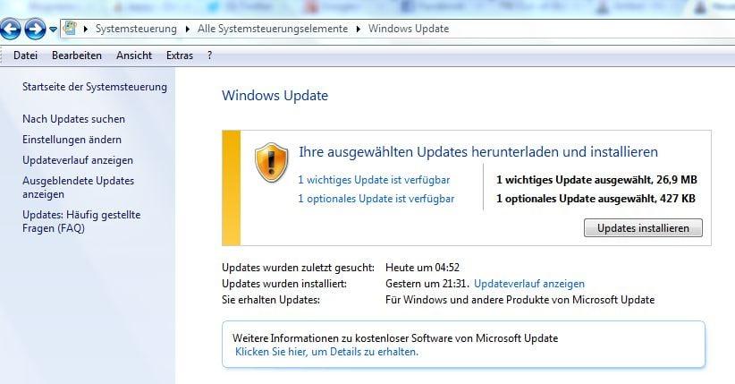 Übersicht über verfügbare Updates - Screenshot