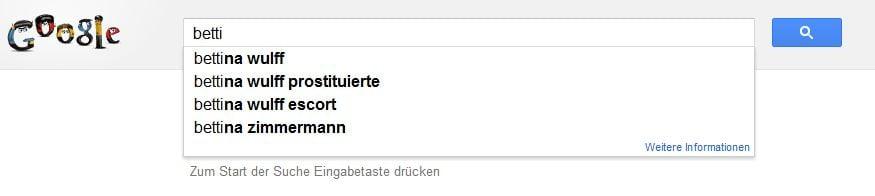"""Bettina Wulff bei Google. Es genügt """"Betti"""" einzugeben"""