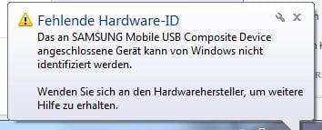 """KIES-Fehler: """"Fehlende Hardware-ID: Das an SAMSUNG Mobile USB Composite Device angeschlossene Gerät kann von Windows nicht identifiziert werden."""""""