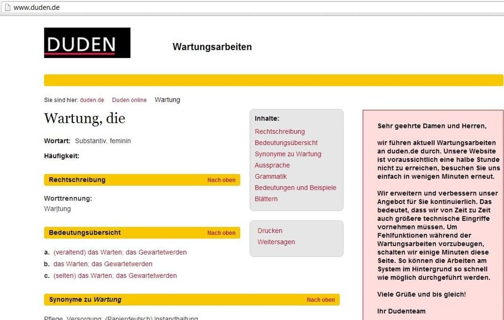 Wartung, die - Screenshot von duden.de gegen 17.30 Uhr