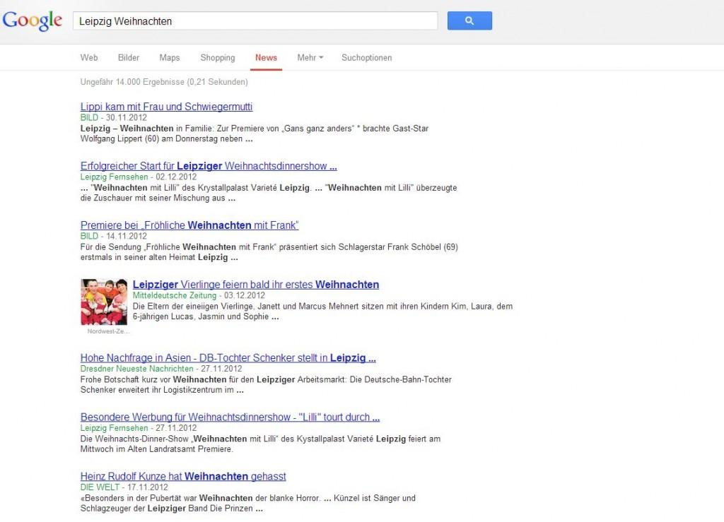 Google Suche: Leipzig Weihnachten
