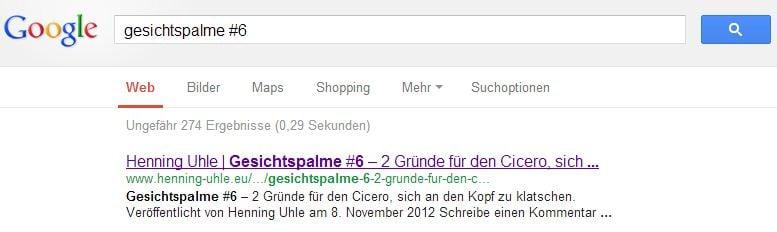 Screenshot der Google Suchergebnisse