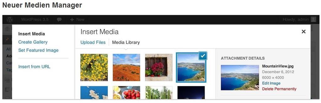 Medienverwaltung in Wordpress 3.5