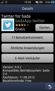 Twitter for Bada - Übersicht