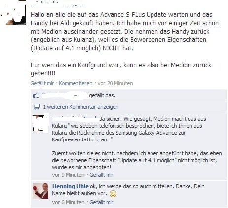 Das Samsung Galaxy S Advance in der Diskussion - Screenshot einer Facebook-Unterhaltung