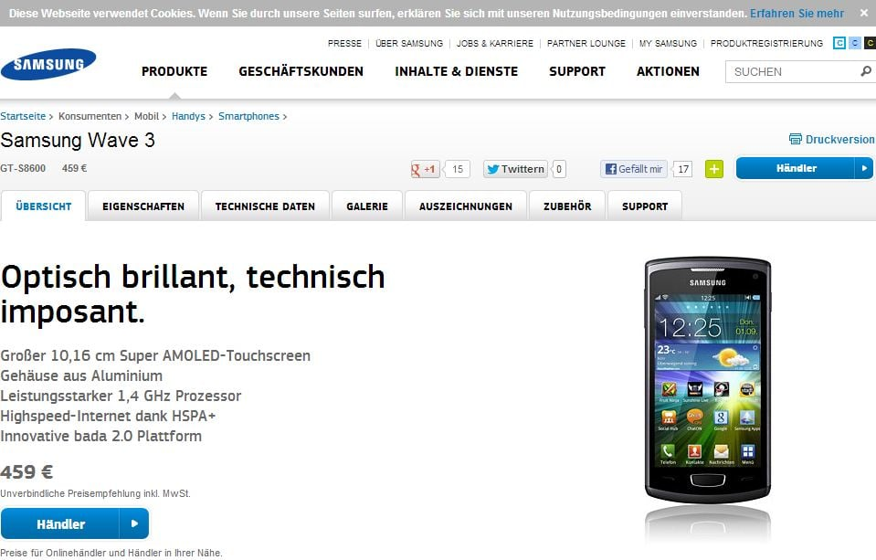 Samsung Wave 3 bei Samsung.de - Originalpreis 459 € - Screenshot