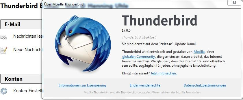 Thunderbird 17.0.5 - Screenshot (C) Henning Uhle