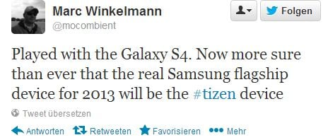 "Tweet von Marc Winkelmann: ""Played with the Galaxy S4. Now more sure than ever that the real Samsung flagship device for 2013 will be the #tizen device"""
