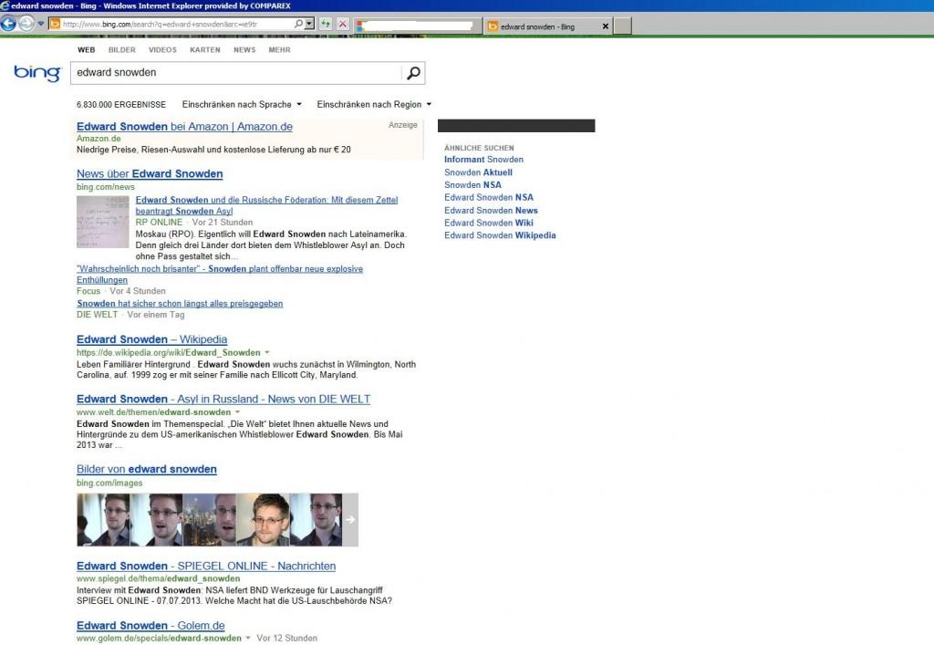 """Screenshot der Bing-Suche im Internet Explorer nach """"Edward Snowden"""" als Beispiel"""