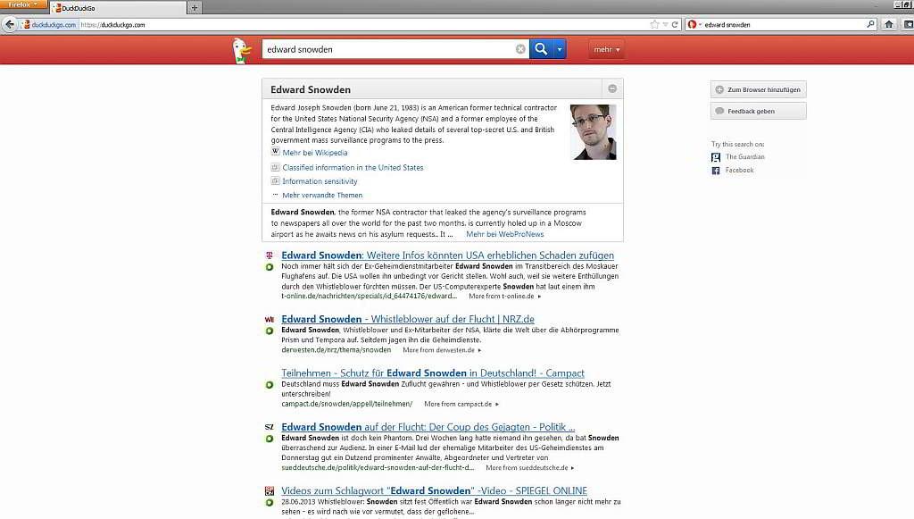 """Screenshot der Suche mit der Suchmaschine """"DuckDuckGo"""" aus dem Firefox nach dem Begriff """"Edward Snowden"""" als Beispiel"""""""