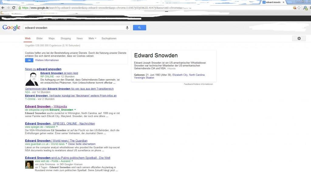 """Screenshot der Google-Suche im Google Chrome nach """"Edward Snowden"""" als Beispiel"""