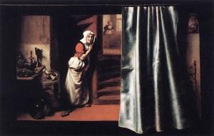 Lauscherin mit schimpfender Frau (Gemälde von Nicolaes Maes, 1655) - (C) Public Domain by Web Gallery of Art via Wikimedia Commons