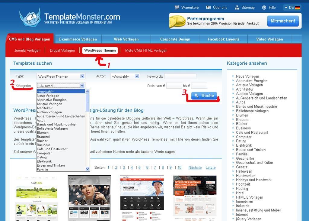 Screenshot von der Webseite von TemplateMonster