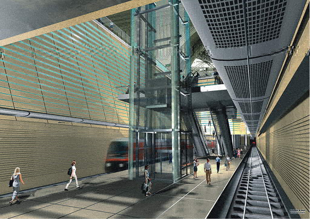 Entwurfsgrafik für die City-Tunnel-Station Hauptbahnhof Leipzig - (C) Freistaat Sachsen