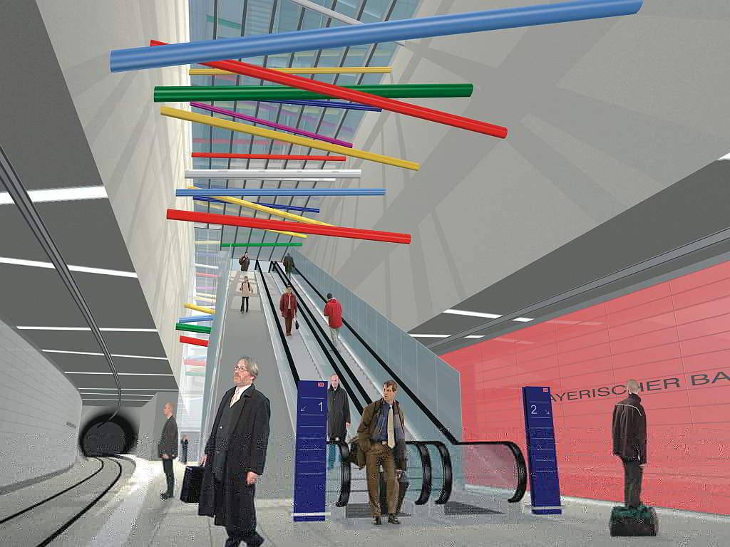 Entwurfsgrafik für die City-Tunnel-Station Bayerischer Bahnhof - (C) Freistaat Sachsen