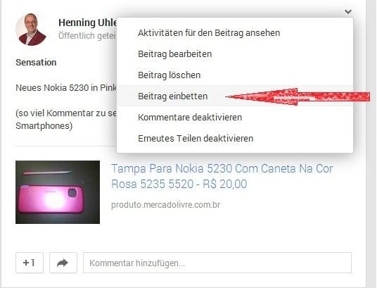 Einbetten des Beitrags - (C) Screenshot Henning Uhle
