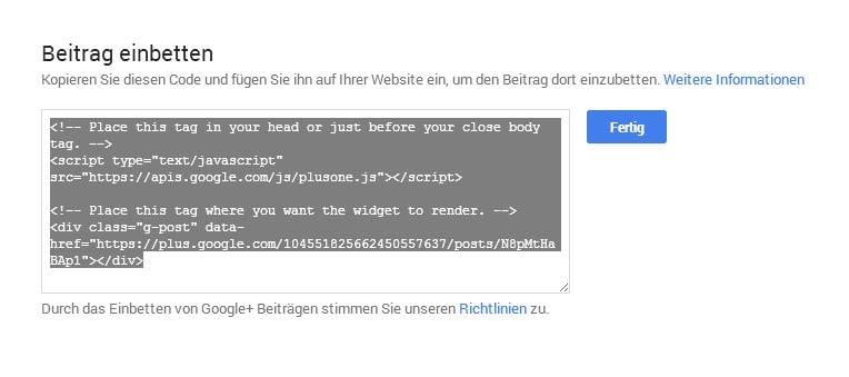 Codefenster bei Google+ - (C) Screenshot Henning Uhle