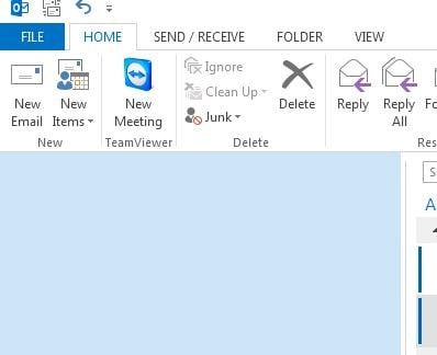 Ausschnitt aus Outlook 2013 mit leerer Ordnerspalte - (C) Screenshot Henning Uhle