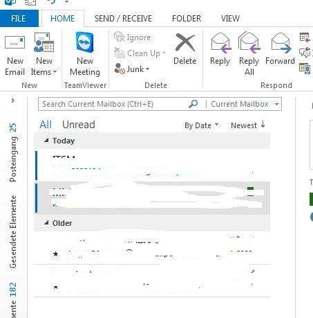 Rparierte Ordnerspalte in Outlook 2013 - (C) Screenshot Henning Uhle
