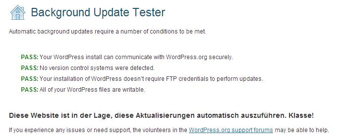 """Testergebnis über einen bestandenen Test mit dem """"Background Update Tester"""" - Screenshot Henning Uhle"""