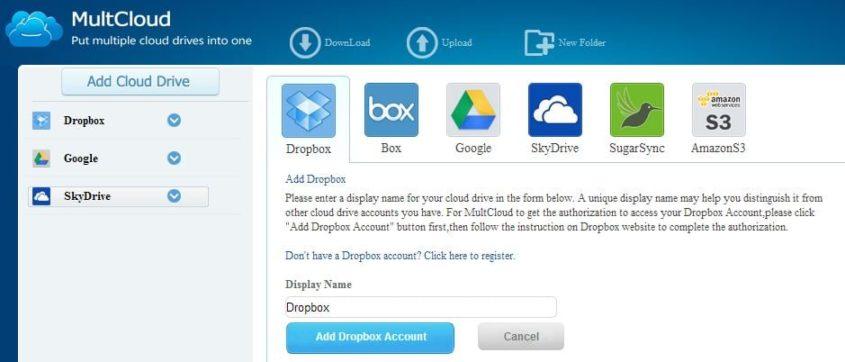 Multcloud mit eingebundenem Dropbox, SkyDrive und GoogleDrive - Screnshot Henning Uhle