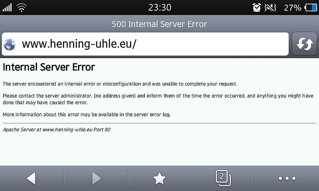 Internal Server Error - (C) Screenshot vom Smartphone - Henning Uhle