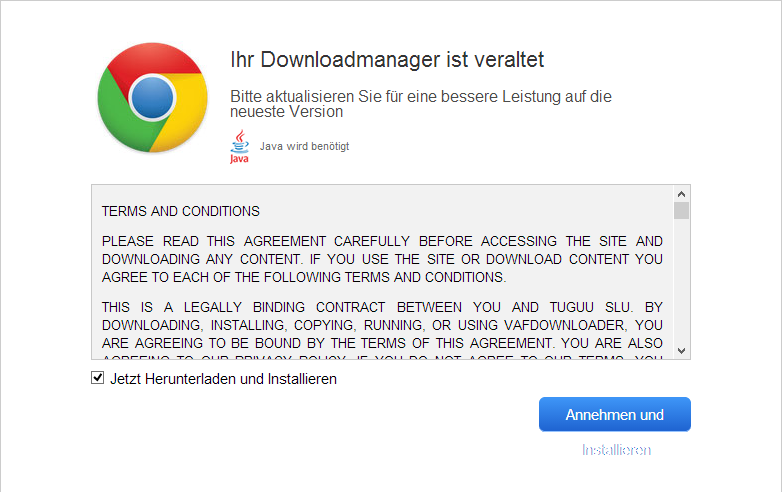 Die Meldung, dass der Download-Manager aktualisiert werden muss - (C) Henning Uhle