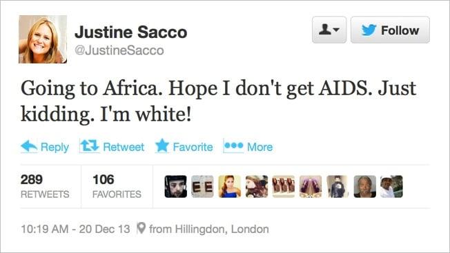 Der Tweet von Justine Sacco, der ihr Leben veränderte - (C) via Mobilenote