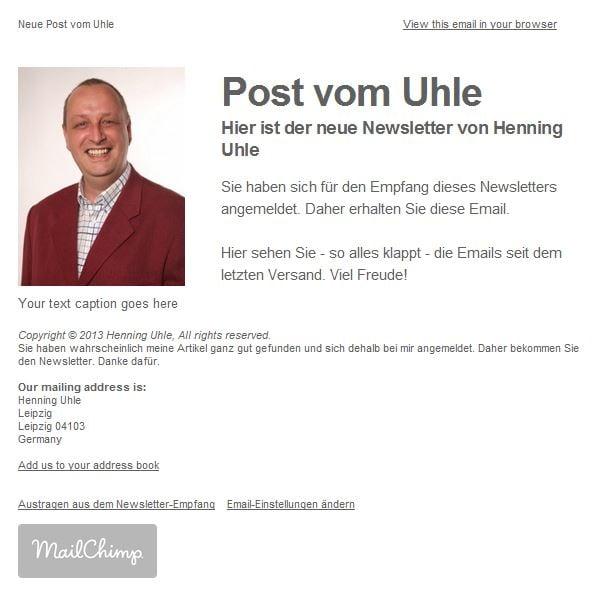 Ansicht des neuen Newsletters - (C) Screenshot Henning Uhle