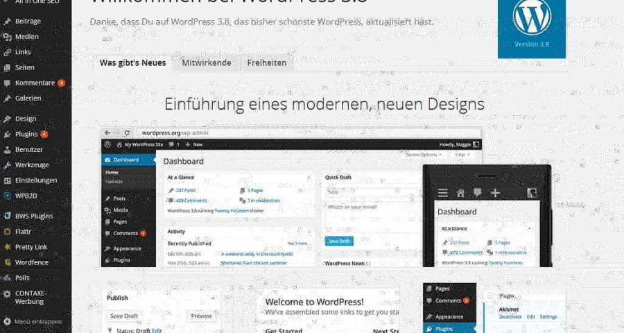 Screenshot des Wordpress 3.8 Dashboards (C) Henning Uhle