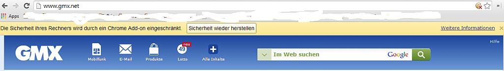 """""""Die Sicherheit ihres Rechners wird durch ein Chrome Add-on eingeschränkt"""" - Fragwürdige Warnmeldung bei GMX bei aktivem Werbeblocker - Screenshot Henning Uhle"""